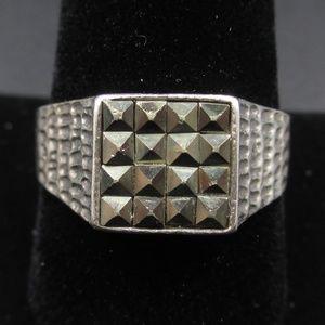 Vintage Size 9.5 Sterling Silver Maracite Ring